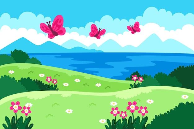 Fondo de primavera con mariposas vector gratuito