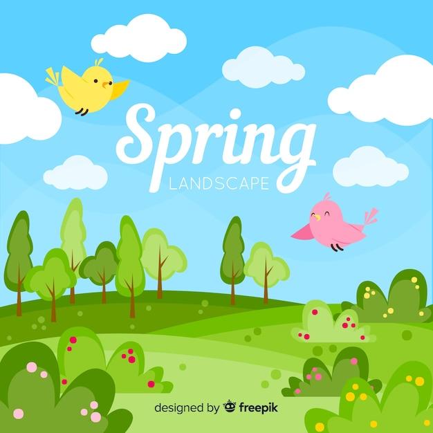 Fondo primavera pájaros en el campo vector gratuito