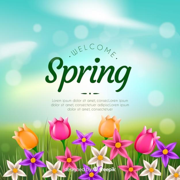 Fondo de primavera realista vector gratuito