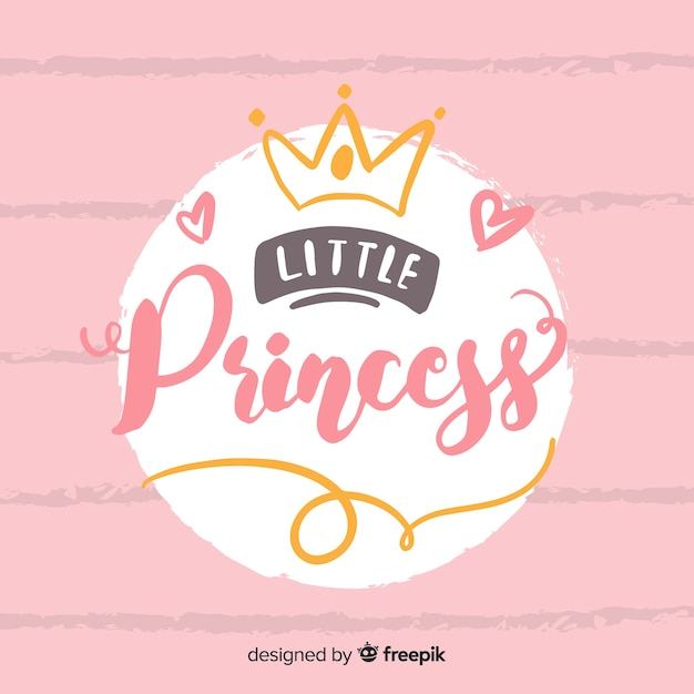 Fondo princesa caligráfico dibujado a mano vector gratuito