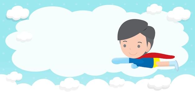 Fondo de publicidad de niños superhéroes, plantilla para folleto publicitario, su texto, niños pequeños y lindos superhéroes y marco, héroe infantil y espacio de copia aislado en la ilustración de fondo Vector Premium