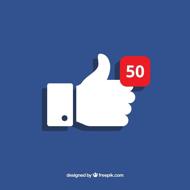 Fondo de pulgar arriba de facebook con notificación vector gratuito