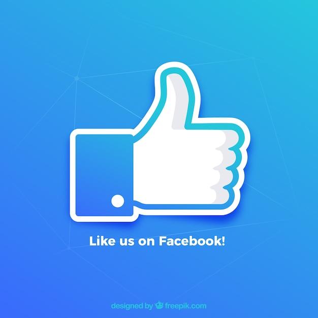 Fondo de pulgar arriba de me gusta de facebook en colores degradados vector gratuito