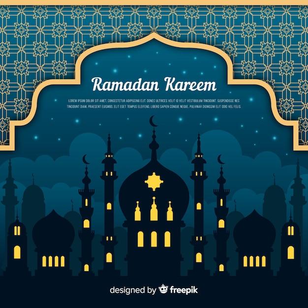 Fondo de ramadán en diseño plano vector gratuito