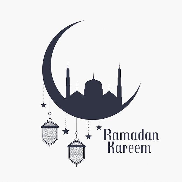 Fondo de ramadán kareem con mezquita y lámparas. vector gratuito