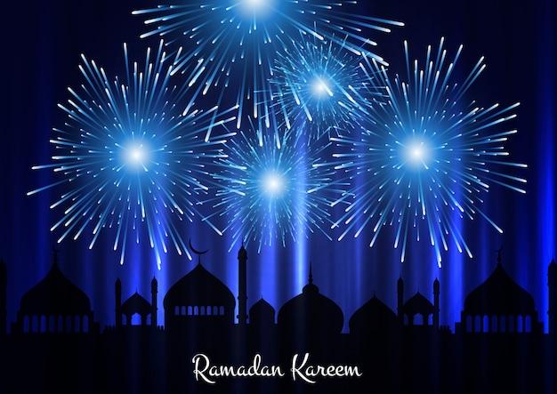 Fondo de ramadán kareem con silueta de mezquita y fuegos artificiales en el cielo vector gratuito