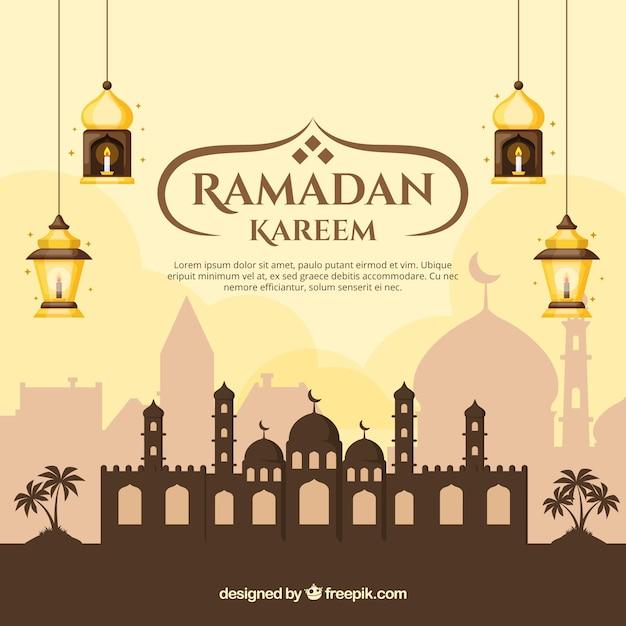 Fondo de ramadán con mezquita y lámparas en estilo plano vector gratuito