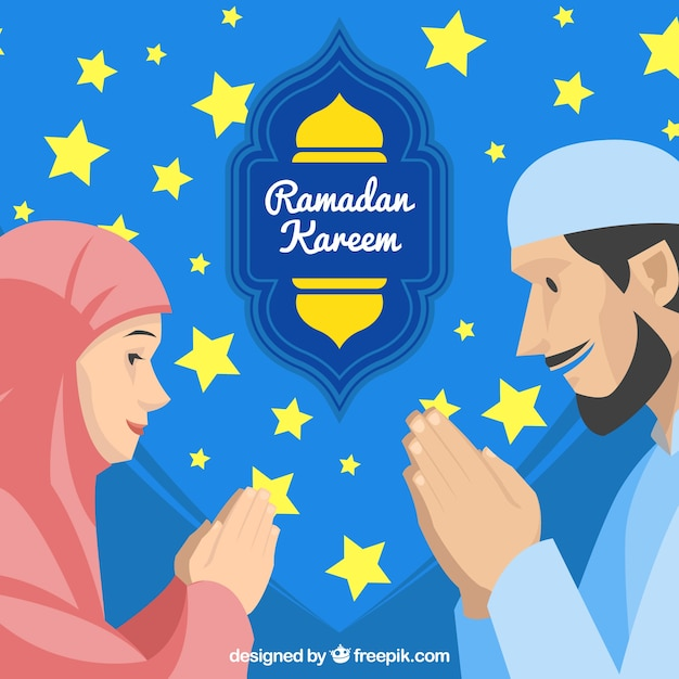 Fondo de ramadán con personas rezando vector gratuito