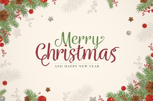 Fondo de ramas de árbol de navidad dibujado a mano vector gratuito