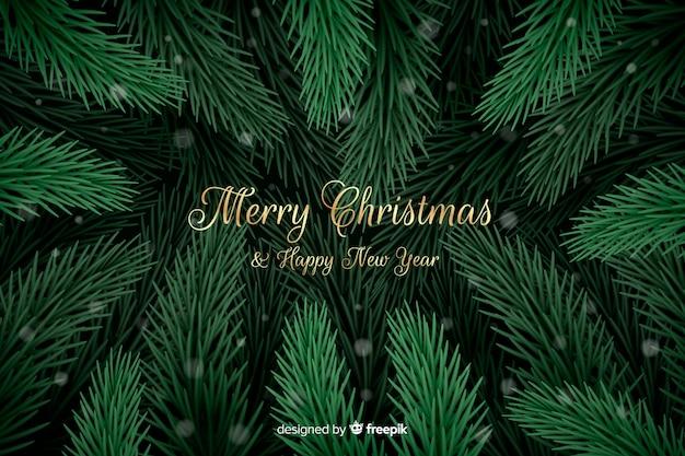 Fondo de ramas de árbol de navidad vector gratuito