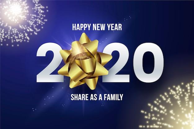 Fondo realista 2020 con fuegos artificiales vector gratuito