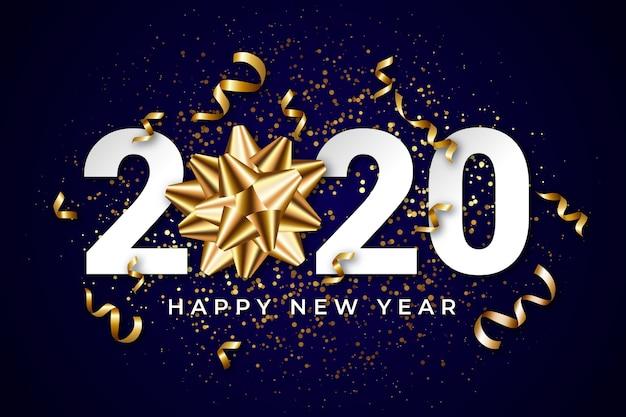 Fondo realista de año nuevo 2020 con lazo de regalo dorado vector gratuito