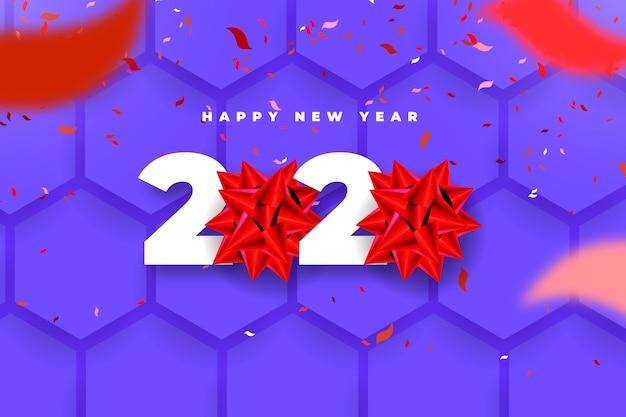 Fondo realista de año nuevo 2020 con lazo de regalo rojo vector gratuito