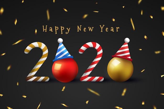 Fondo realista año nuevo divertido con confeti vector gratuito