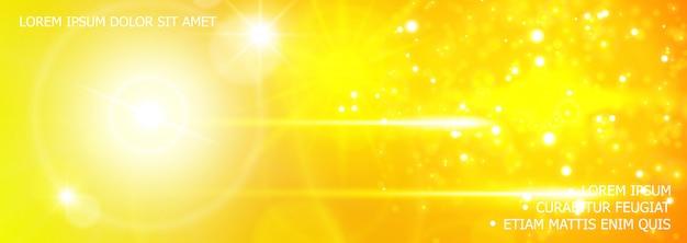 Fondo realista de brillo y efectos de luz con destello de lente, destellos de luz solar, efectos de flash en colores amarillos vector gratuito