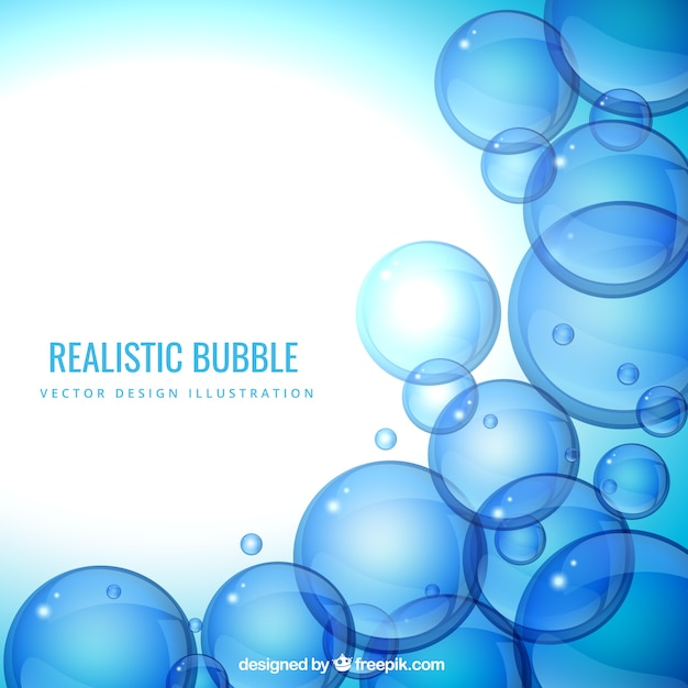 Fondo Realista Burbujas En Tonos Azules Descargar Vectores Gratis