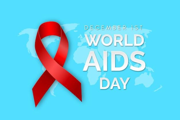 Fondo realista con cinta del día del sida Vector Premium