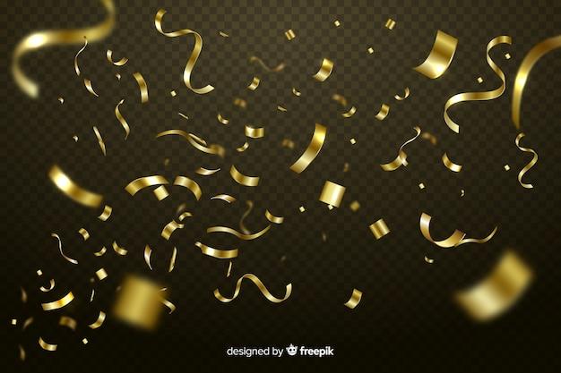 Fondo realista de confeti dorado vector gratuito