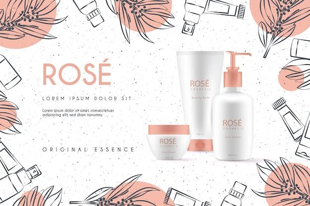 Fondo realista de cosméticos con productos de belleza vector gratuito