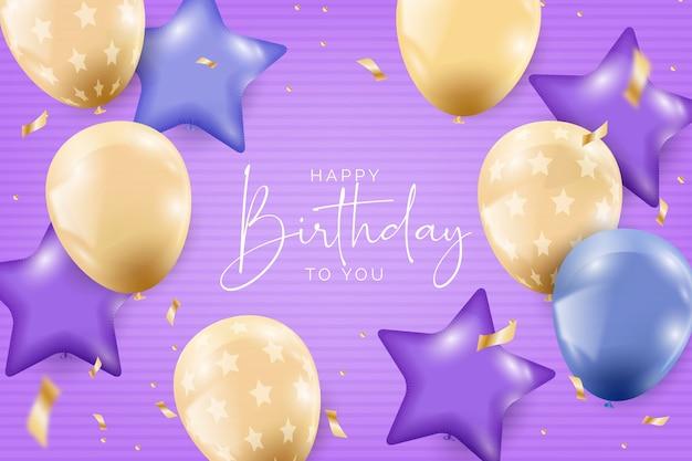 Fondo realista de cumpleaños con globos vector gratuito