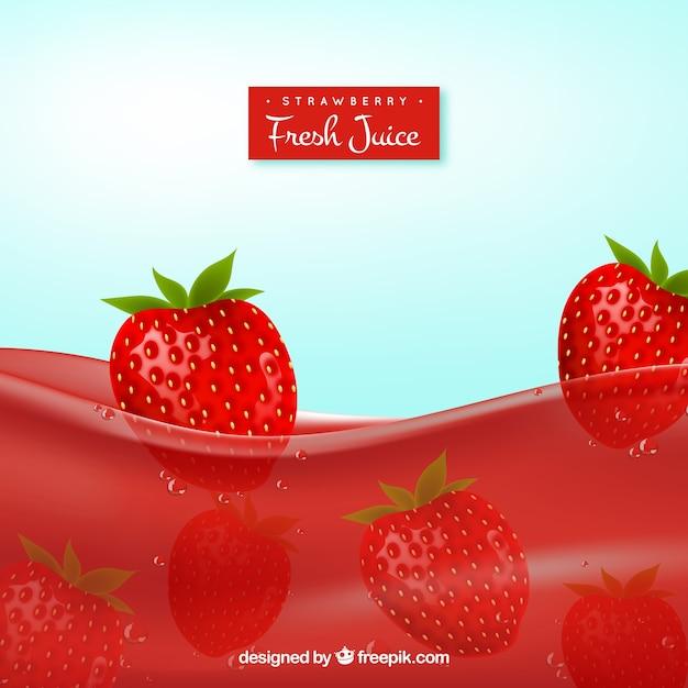 Fondo realista de zumo de fresa descargar vectores gratis - Como hacer zumo de fresa ...