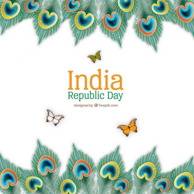 Fondo realista del día de la república india con mariposas ...