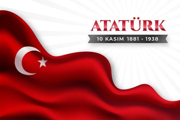 Fondo realista del día conmemorativo de ataturk con bandera vector gratuito