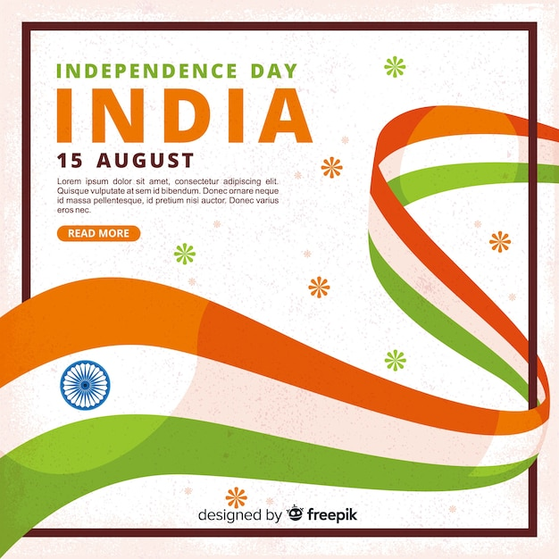 Fondo realista del día de la independencia de india en diseño plano vector gratuito