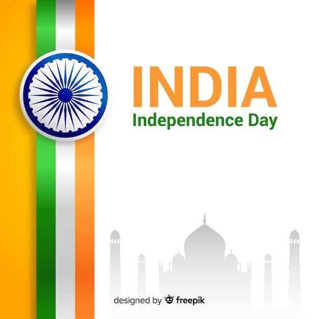 Fondo realista del día de la independencia de india vector gratuito