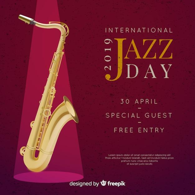 Fondo realista del día internacional del jazz vector gratuito