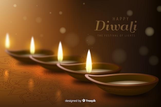 Fondo realista diwali con velas vector gratuito