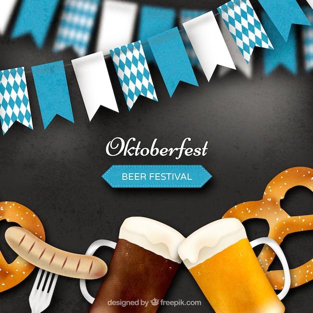 Fondo realista con elementos del oktoberfest vector gratuito