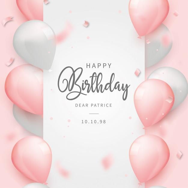 Fondo realista feliz cumpleaños con globos rosados vector gratuito