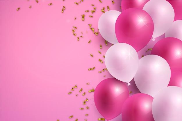 Fondo realista feliz cumpleaños vector gratuito