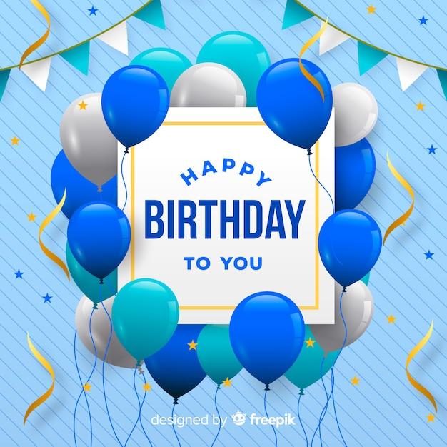 Fondo realista de fiesta de feliz cumpleaños vector gratuito