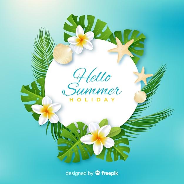 Fondo realista y floral de bienvenida al verano en la playa vector gratuito