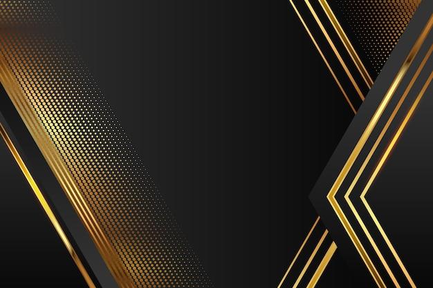 Fondo realista de formas geométricas elegantes en dorado y negro vector gratuito