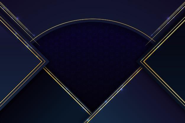 Fondo realista de formas geométricas elegantes con líneas doradas vector gratuito
