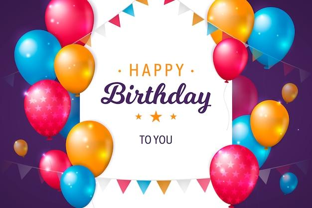 Fondo realista de globos de cumpleaños vector gratuito