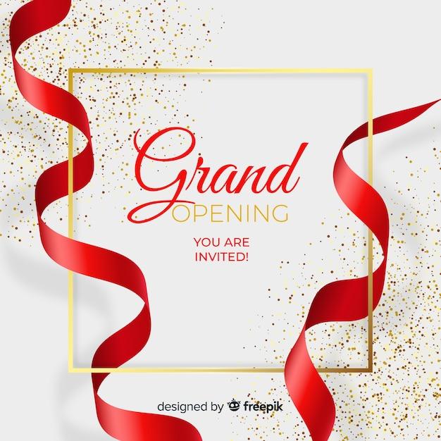 Fondo realista de gran inauguración con confeti vector gratuito