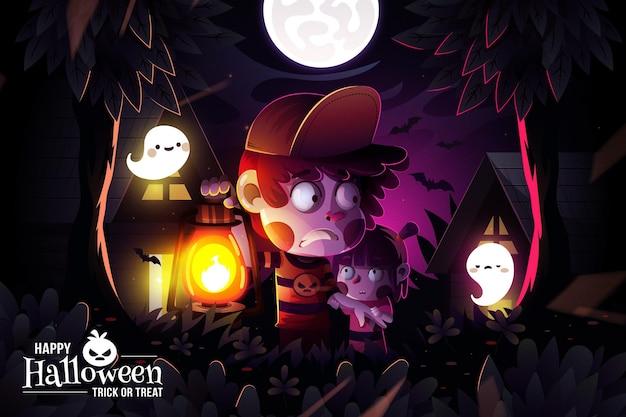 Fondo realista de halloween vector gratuito