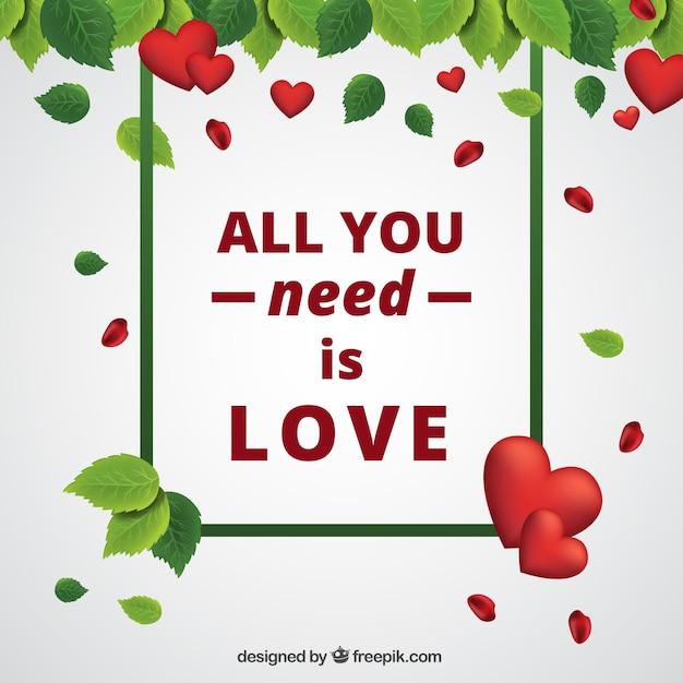 Fondo realista con hojas y corazones para el día de san valentín ...