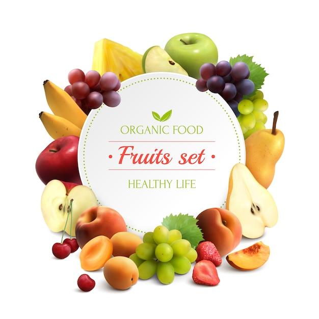 Fondo realista de marco de frutas vector gratuito