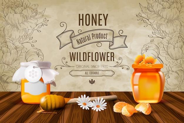 Fondo realista de miel con flores silvestres vector gratuito