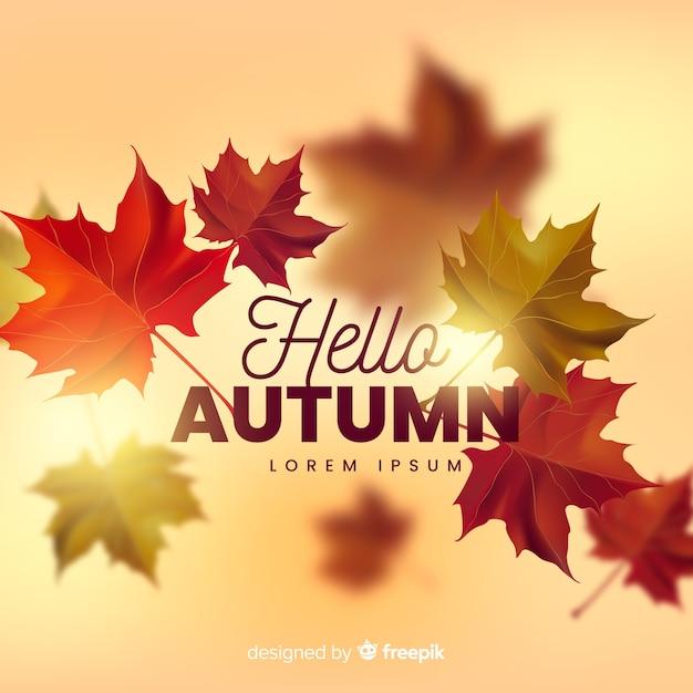 Fondo realista de otoño con hojas vector gratuito