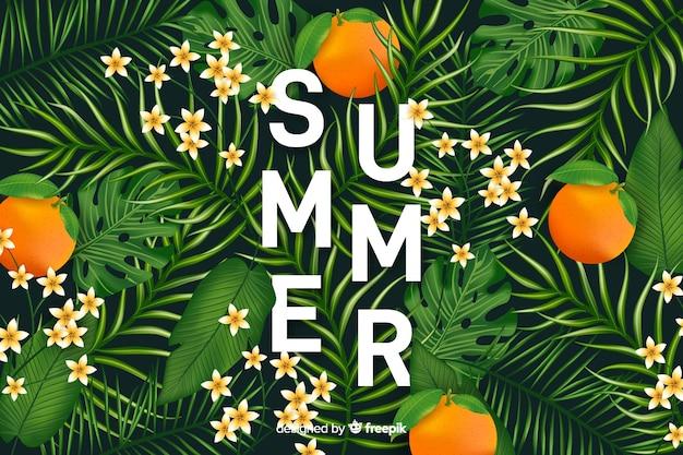 Fondo realista y tropical de verano vector gratuito