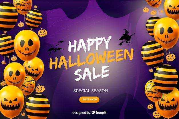 Fondo realista de venta de halloween con globos de calabaza vector gratuito