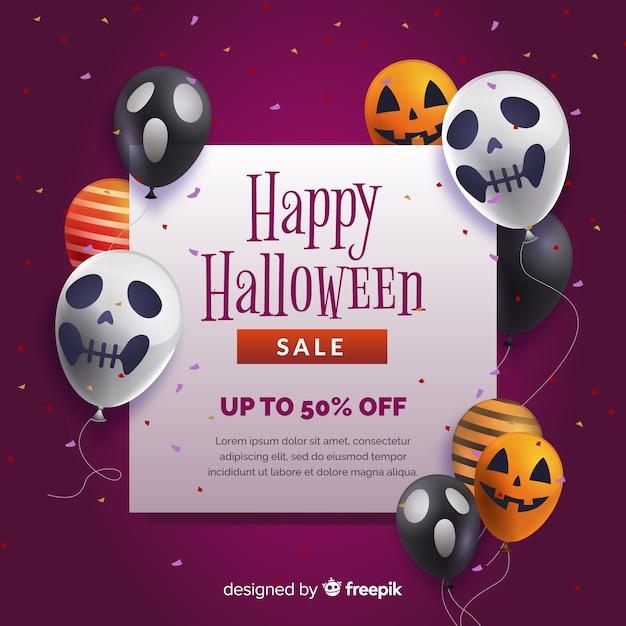 Fondo realista de venta de halloween con globos vector gratuito