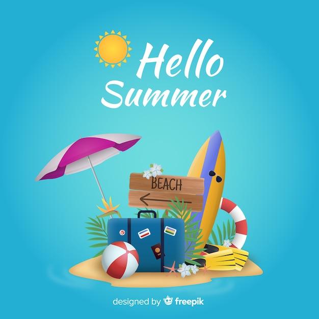 Fondo realista de verano vector gratuito