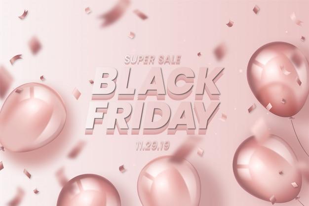 Fondo realista de viernes negro con globos vector gratuito